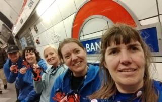 Sue Moye, Ann Alexander, Sandy Maloy, Charlotte Richardson and Jodie Budd returning home after completing the very windy, London Vitality Big Half Marathon.