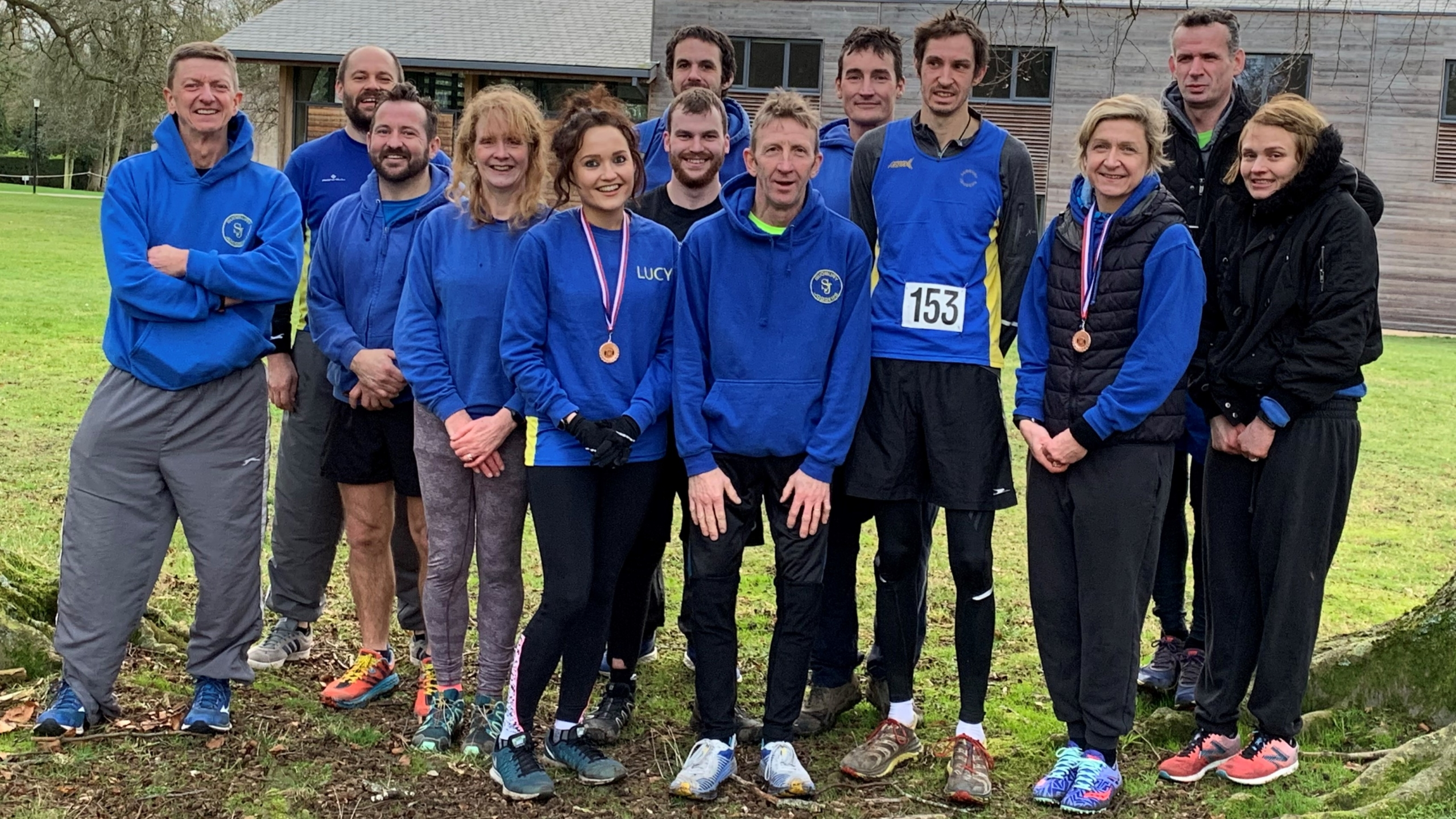 (L-R) Andy Buck, Matt Benson, Richard Smith, Ruth Cowlin, Lucy Cowlin, Kieron Hayles, Pete Mansfield, Todd Lewis, Charles Hann, Ben Cuthbert, Sally-Ann Bowen, Gary Perryman and Emma Drury at the Suffolk County Athletics Association Cross Country Championships.